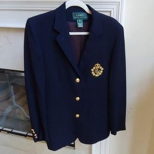 VTG Ralph Lauren Navy Wool Blazer Gold Buttons